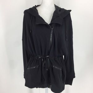 Blanc Noir Black Hooded Cotton Asymmetrical Coat